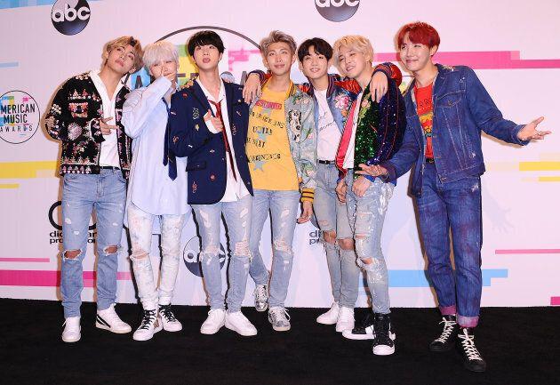 BTS at the 2017 American Music Awards on Nov. 19,