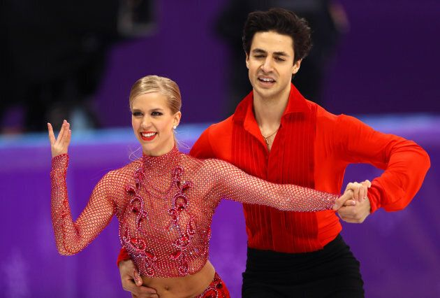Kaitlyn Weaver and Andrew Poje of Canada compete during the figure skating ice dance short