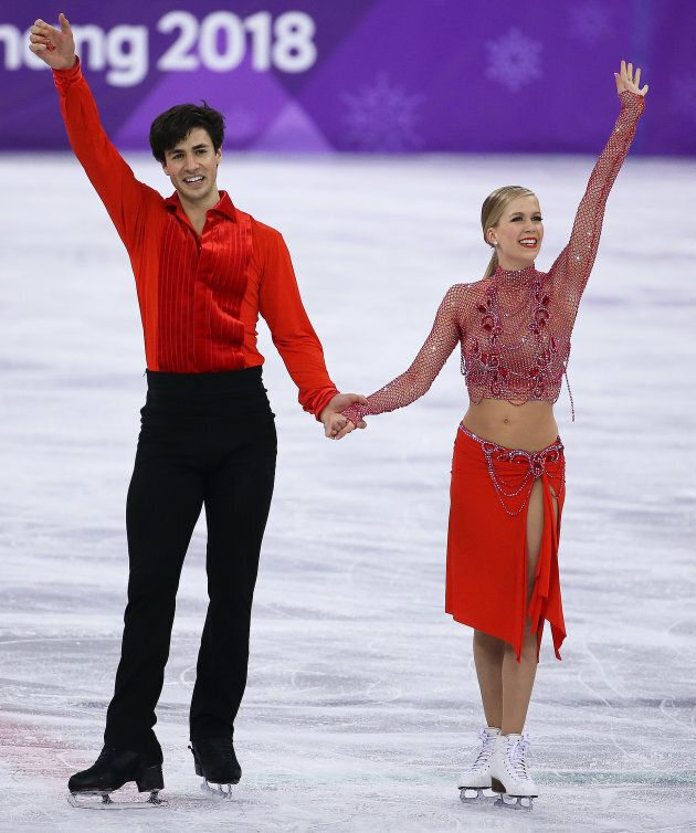 Kaitlyn Weaver and Andrew Poje during the Figure Skating Ice Dance Short Dance