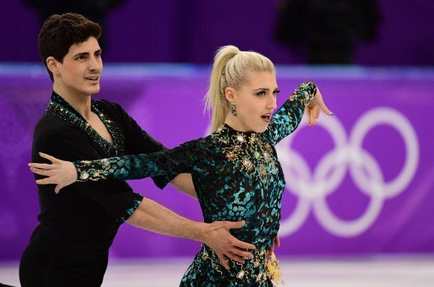 Piper Gilles and Paul Poirier compete in the ice dance short dance of the figure skating