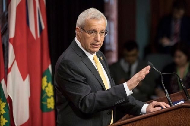 Ontario PC Interim Leader Vic Fedeli addresses the media at Ontario Legislature in Toronto on Feb. 20,