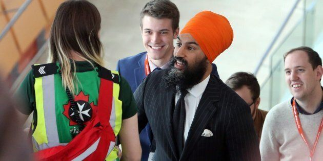NDP Leader Jagmeet Singh arrives at his party's policy convention in Ottawa on Feb. 16,