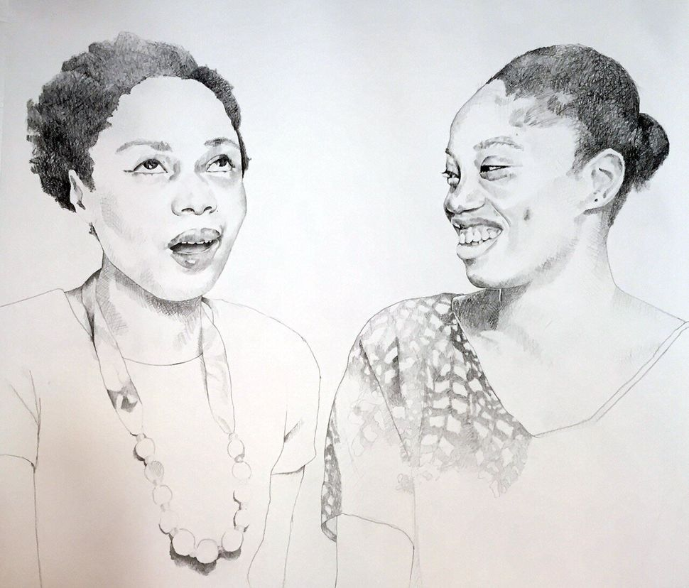 Portrait of Dainty Smith and Kyisha Williams by Syrus Marcus Ware.