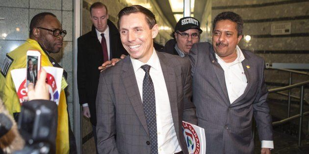 Patrick Brown leaves the Ontario PC Party Head Offices in Toronto on Feb. 20,