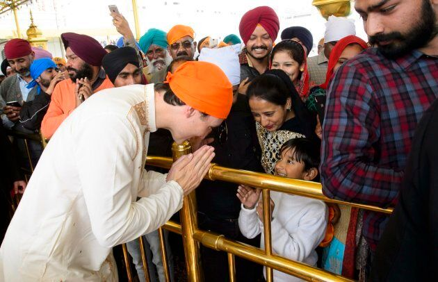 Prime Minister Justin Trudeau is greeted by crowds as he visits the Golden Temple in Amritsar, India...