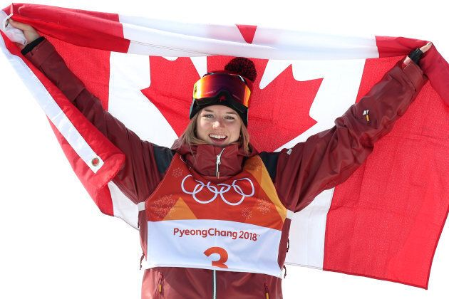 Gold medalist Cassie Sharpe of Canada celebrates after her win during the Freestyle Skiing - Ladies'...