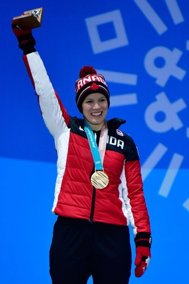 Alex Gough during the medal ceremony for the women's luge singles at the 2018 Olympics.
