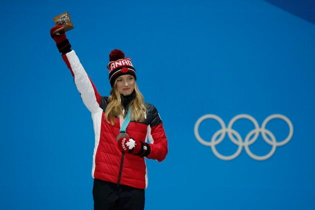 Silver medalist Justine Dufour-Lapointe on the podium Feb. 12.