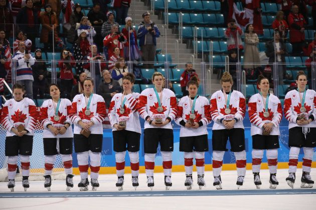 The Canadian's women's hockey team after losing to the United States in the Women's Gold Medal Game at the 2018 Olympics.