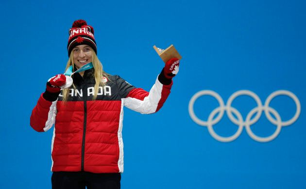 Silver medallist Laurie Blouin on the podium on Feb. 12.