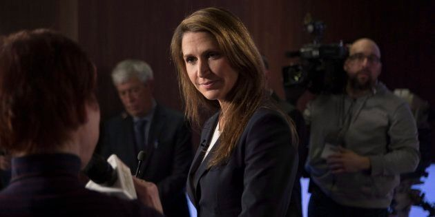 Caroline Mulroney scrums with journalists in the TVO studios in Toronto on Feb. 15, 2018, following a...