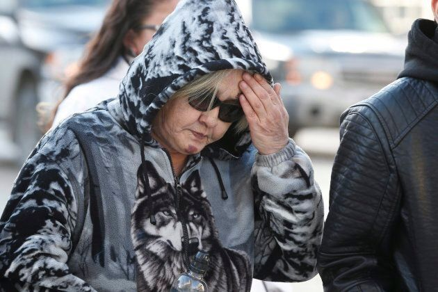 Thelma Favel, Tina Fontaine's great-aunt and the woman who raised her, leaves court on