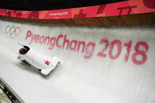 Nadezhda Sergeeva and Anastasia Kocherzhova compete in bobsled at the PyeongChang
