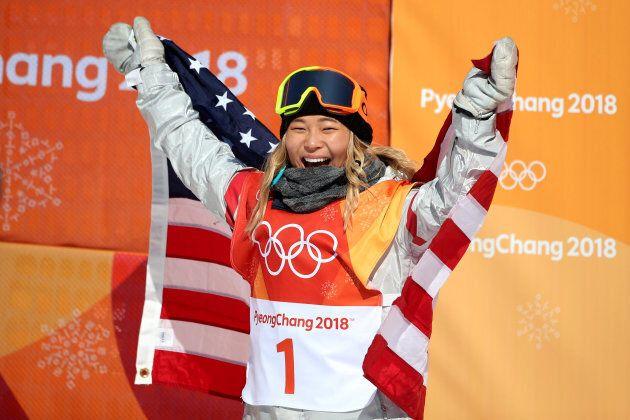 Chloe Kim celebrates her gold medal win in the women's snowboard
