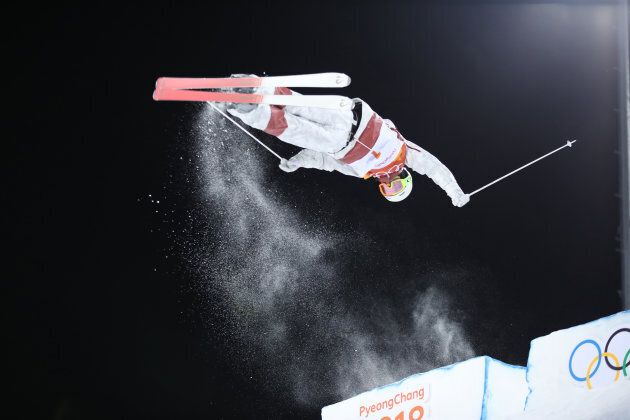 Mikael Kingsbury from Canada competes during the men's moguls freestyle skiing event at the PyeongChang...