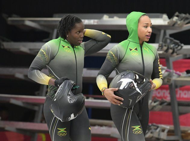 Jamaica's Jazmine Fenlator-Victorian, right, and Carrie Russell were the first women from their country...