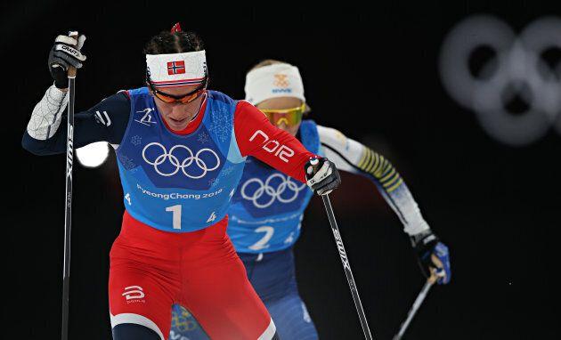 Norway's Marit Bjoergen, front, has 14 Olympic medals to her