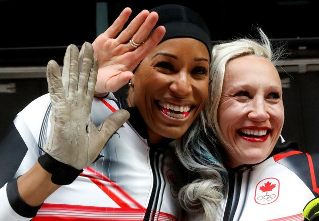 Phylicia George and Kaillie Humphries react to their bronze-medal in women's