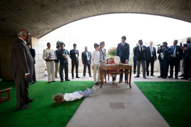 During a visit to Rajghat Gard in New Delhi, Feb. 23,