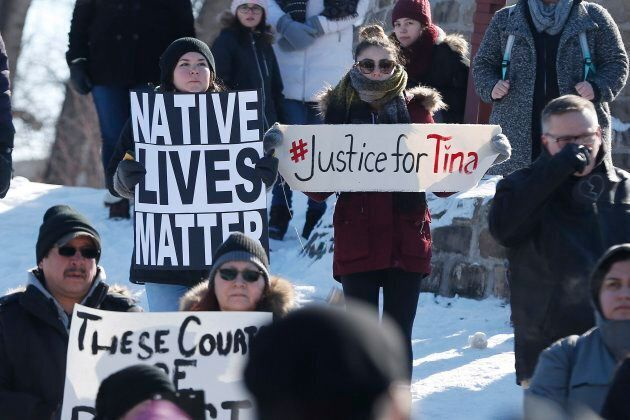 Family and supporters of Thelma Favel, Tina Fontaine's great-aunt and the woman who raised her, hold...