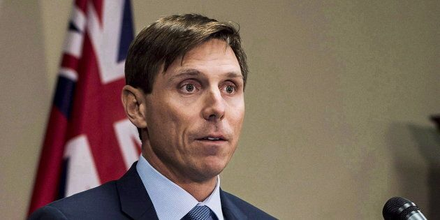 Former Ontario Progressive Conservative Leader Patrick Brown speaks at a press conference at Queen's...