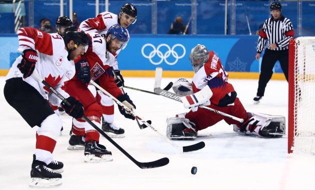 Canada's Derek Roy, the Czech Republic's Michal Jordan, Canada's Rene Bourque, and the Czech Republic's...