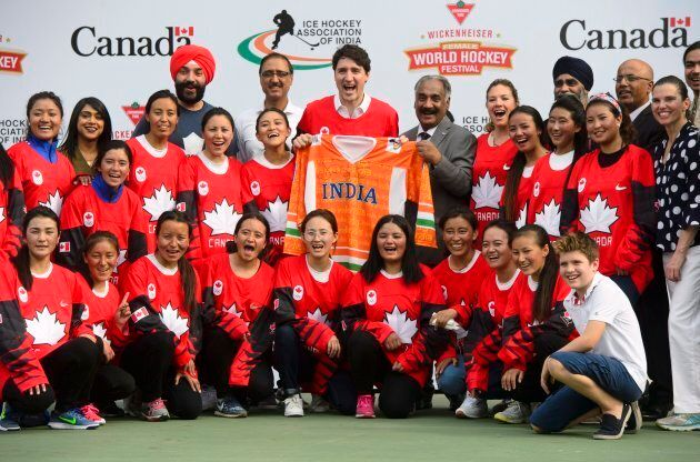 Prime Minister Justin Trudeau takes part in a hockey event with Hayley Wickenheiser and the Indian women's...