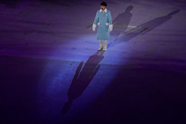 Olympic Anthem singer Oh Yeon-Joon performs during the closing ceremony of the PyeongChang 2018 Winter...