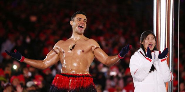 Pita Taufatofua of Tonga stands on stage during the closing ceremony of the Pyeongchang 2018 Winter Olympic...