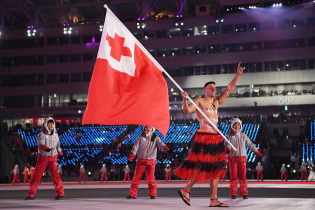 Pita Taufatofua of Tonga leads his country during the opening ceremony of the Pyeongchang 2018 Winter...