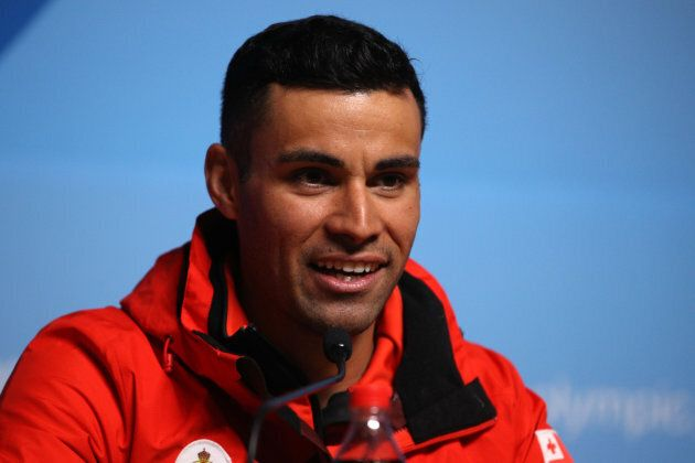 Tongan cross country skier Pita Taufatofua speaks during a press conference at the Main Press Centre...