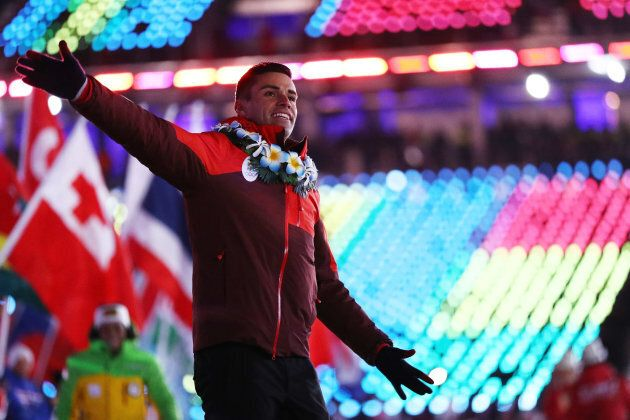 Pita Taufatofua of Tonga walks in the Parade of Athletes during the closing ceremony of the Pyeongchang...