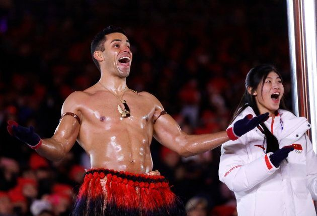 Tonga's Pita Taufatofua reacts during the closing ceremony of the 2018 Winter Olympics in Pyeongchang,...