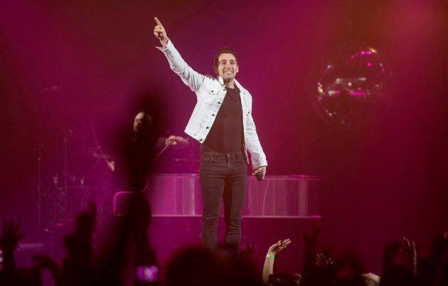 Jacob Hoggard, frontman for the rock group Hedley, performs during the band's concert in Halifax on