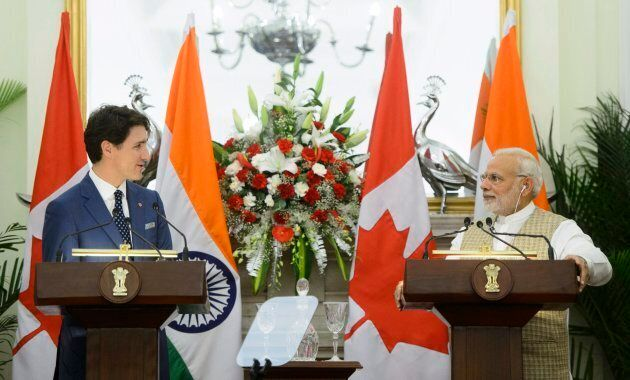 Prime Minister Justin Trudeau delivers a joint statement with Prime Minister of India Narendra Modi at...