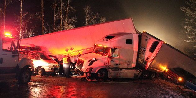 First responders and highways crews worked through the night east of Vancouver to help people in a multi-vehicle...