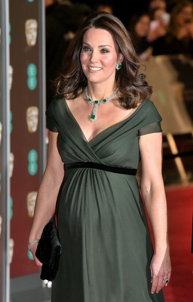 The Duchess of Cambridge attends BAFTAs on Feb.18, 2018 in London.