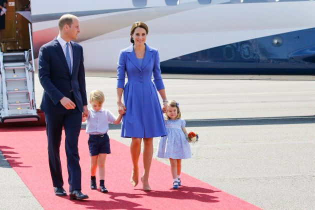The duke and duchess with their children during an official visit to Poland and Germany on July 19, 2017 in Berlin.