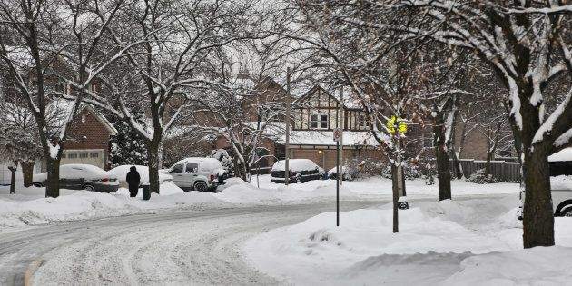 Another snowy day left an additional 5-8 cm of snow in Toronto, Ontario, Canada, on Feb. 10,
