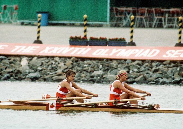 Canada's Kay Worthington, left, and Silken Laumann compete in the rowing event at the 1988 Olympic Games in Seoul.
