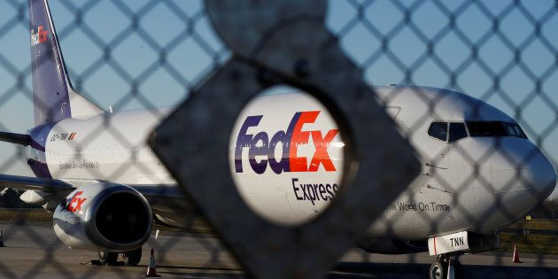A FedEx Express Boeing 737-45D OO-TNN aircraft is seen at the Chopin International Airport in Warsaw,...