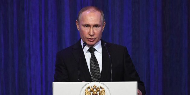 Russian President Vladimir Putin delivers a speech in Moscow on Feb. 22,