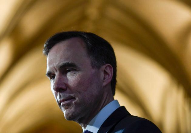 Minister of Finance Bill Morneau participates in a TV interview after tabling the budget in the House...