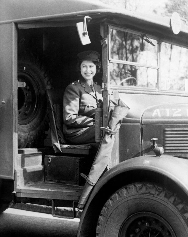 Princess Elizabeth at the wheel of an army vehicle when she served during the Second World War in the Auxiliary Territorial Service.