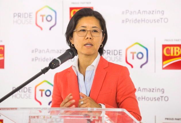 Toronto Councillor Kristyn Wong-Tam speaks during the opening ceremony of the PrideHouse Toronto, ahead...