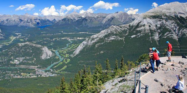 Vistors take in the view at Banff National Park in Alberta.