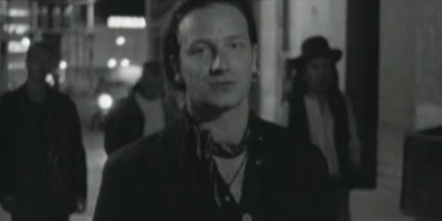 U2 frontman Bono performs in the video