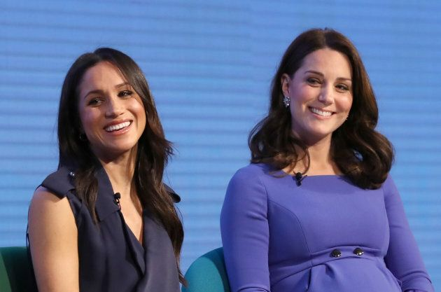 Meghan Markle and the Duchess of Cambridge speak at the Royal Foundation Forum.