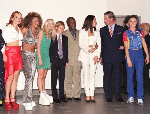 The Prince Of Wales and Prince Harry visited South Africa and met with the Spice Girls at a concert in 1997.