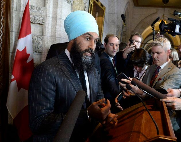 NDP Leader Jagmeet Singh speaks to reporters following the tabling of the budget in the House of Commons on Parliament Hill in Ottawa on Tuesday, Feb. 27, 2018. THE CANADIAN PRESS/Justin Tang